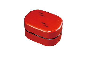 通勤 通学 紀州漆器  お弁当箱 小判二段弁当箱 根来塗 (タッパー付 仕切付) 大人の弁当箱
