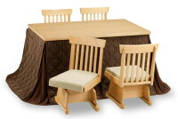 ハイタイプこたつ6点セット/テーブルひだまり135NA×1、椅子KN-13NA×4、上掛けひだまり135FU×1