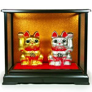 金箔・銀箔貼 招き猫置物「まねき猫(金銀ペア/4号)」 02P03Dec16