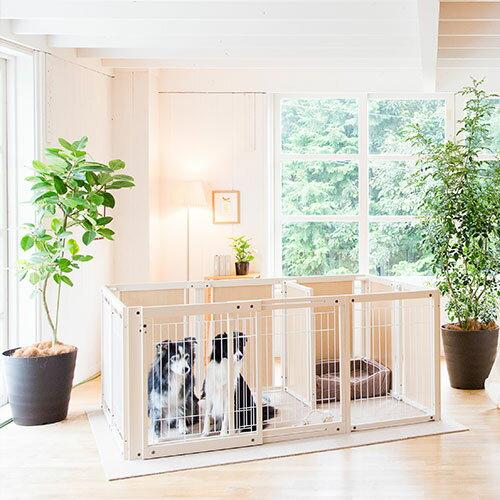「新商品」『サークルプラス FS80XLp メッシュ』 日本製 木製 ペットサークル 大型犬 サークル サークル 多頭飼い :キンタローのウッドクラフト