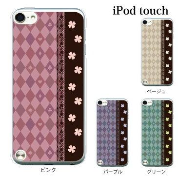 iPod touch 5 6 ケース iPodtouch ケース アイポッドタッチ6 第6世代 ハーリキン・チェックと四葉 クローバー / for iPod touch 5 6 対応 ケース カバー かわいい 可愛い【アイポッドタッチ 第5世代 5 ケース カバー】