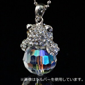 輝くスワロフスキーリボンテディペンダント/シルバー(GLE-OS-BP727-ASV)【necklace】【首飾り】【アクセサリー】【スワロフスキー】【テディ】【ペンダント】