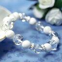 ブレスレット 天然石四神水晶×天然ホワイトターコイズ×天然水晶パワー...