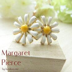 ピアスマーガレットフラワーシンプル花のピアス繊細で華奢なつくりの花びらと、白とイエローの清潔感あるデザイン。可愛くて上品な華やかさ!送料無料レディースアクセサリーサージカル結婚式パーティー爽やかサジカル