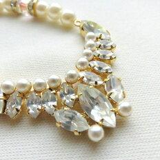 パール ネックレス ヴィンテージ スワロフスキー レトロ デッドストック フォーマル パーティー お呼ばれ お祝い 結婚式 ギフト プレゼント 樹脂パール使用 オリジナルネックレスです。母の日 記念日 冠婚