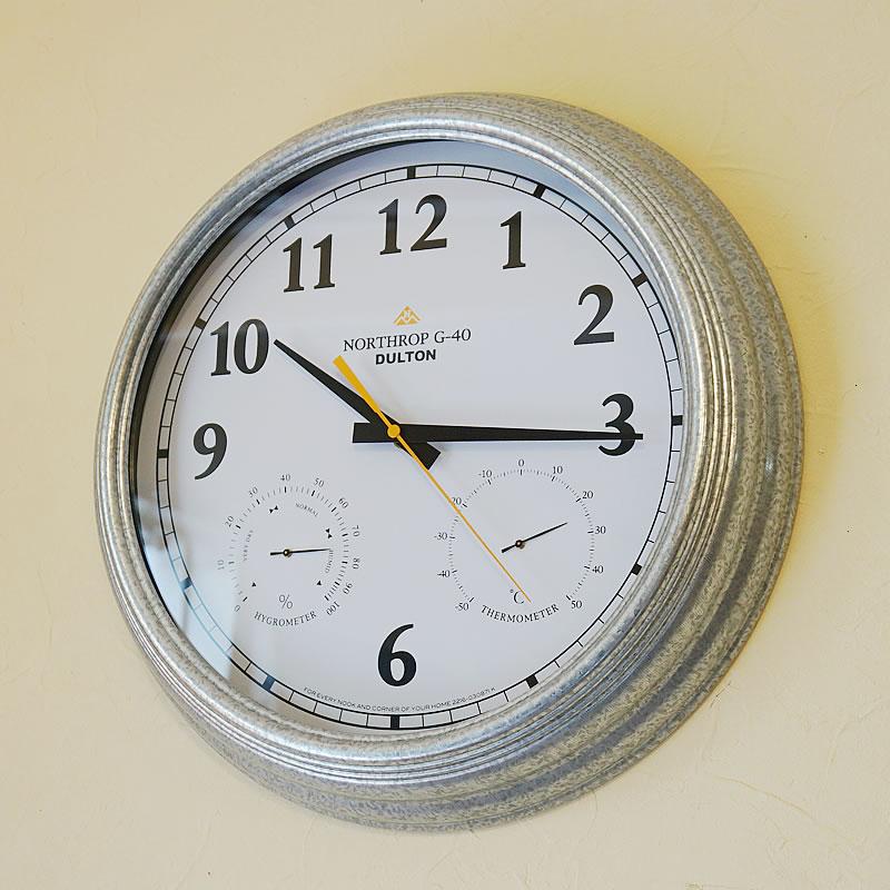 DULTON ダルトン ウォールクロック 掛け時計 おしゃれ 湿度計 温度計付【送料無料】インダストリアル調 壁掛け 時計 インテリア 雑貨 おしゃれ 時計 輸入雑貨 インテリア雑貨 おしゃれ プレゼント お祝い 父の日 ギフト