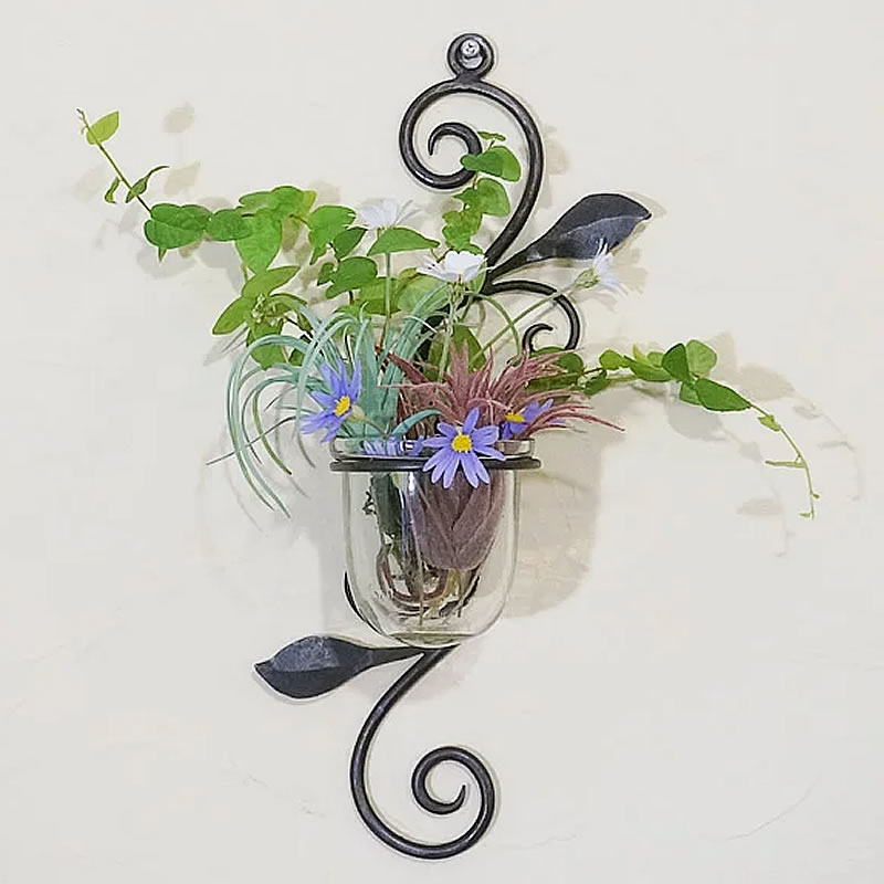 【アイアンのおしゃれベース・花瓶 壁掛け フラワーベース】一輪挿し ガラス