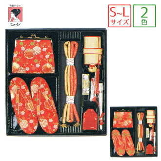 Hakoseko 設置 7 件套 (袋、 涼鞋、 胸悶、 g、 魅力、 別墅的針腳和風扇) 2 模式 < 雪車輪 (紅色) 和香 (紅色) > 卡拉威歌舞伎町 / 筥迫 / 苦惱框套 / hacocecoset / 3 歲、 5 歲和 7 歲
