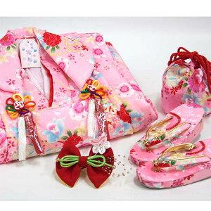 被布セット 3歳児用<ピンク×ピンク> 被布・三つ身・長襦袢・巾着・草履・髪飾り 6点セット