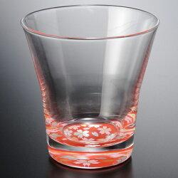 フリーグラス蒔絵桜赤・黒ペアセット