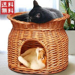 猫ちぐら ねこちぐら ちぐら キャットハウス ラタン 猫 ベッド ペットハウス ドーム型ペットハウス 二段 2段 猫用 猫用品 犬用 ウサギ用 ペットちぐら 籠 籐 らたん ラタン製 ペット用品 おしゃれ 送料無料 yu