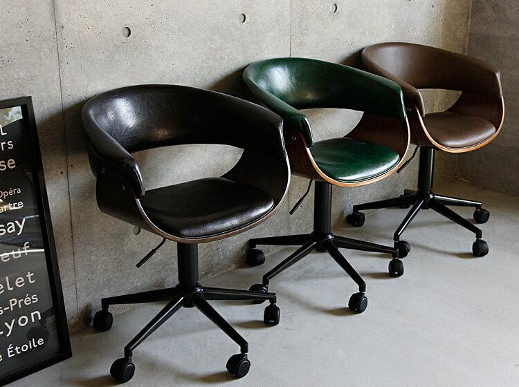 デスクチェアーSOKIA(ソキア)オフィスチェアーパソコンチェアデスクチェアおしゃれヴィンテージビンテージいすイス椅子チェアーキャスター付きPUレザーワークチェアPCチェアグリーンブラックブラウン緑茶色黒新生活