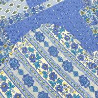 綿100%で優しい手触り鮮やかなブルーのパッチワーク調キルトマルチカバー約200×200cm(約2.5畳)【リバーシブルキルト花柄青ブルーパッチワーク綿】【RCP】【HLS_DU】
