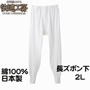 グンゼ 紳士 2L 長ズボン下 タイツ ステテコ 前あき 快適工房 メンズ インナー 肌着 綿100% 日本製 送料無料(メール便)