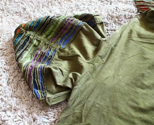 ダメージ加工×ツタ刺繍フード付きロングパーカードロップショルダーZIPジャケットエスニックネパールユニセックスd0135C1935