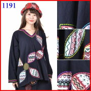エスニックレディースファッション*タイ*アソート花パッチワークゆったりュニックBC1191