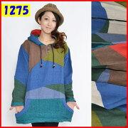 ネパール製ゲレ織り素ランダム配色フード付きパーカーエスニックファッションレディース
