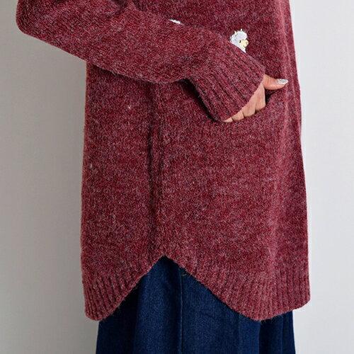 モコモコ刺繍☆アルパカ柄ニットポケット付きチュニックエスニックファッションレディースアジアン0377AC1215