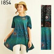 刺繡チュニックワンピースエスニックファッションレディースフリーサイズネパール変形チュニック1632BC
