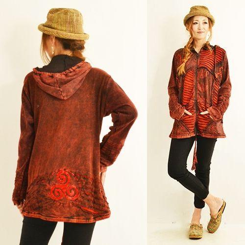 エスニック刺繡パーカージャケットパッチワークジップアップフードパーカーネパールファッションレディースフリーサイズ2135BC1896