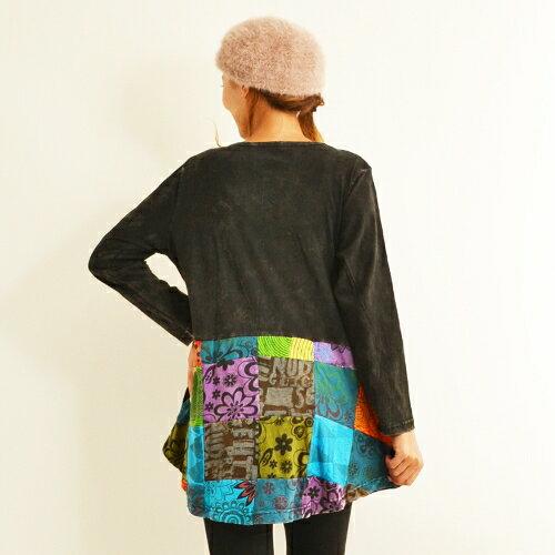 エスニックチュニック長袖花柄刺繡パッチワークトップスストーンウォッシュ加工ネパールレディースファッション2328BC1922