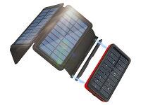 【衝撃特価*65%】ソーラーチャージャー モバイルバッテリー 26800mAh 大容量 4枚ソーラーパネル搭載 ソーラーチャージャー モバイルバッテリー 折り畳み式 2USB出力ポート 急速充電 LEDライト付き 登山/地震/災害/旅行/出張/アウトドア
