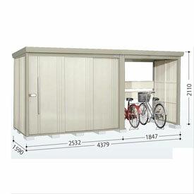 タクボ物置 TP/ストックマンプラスアルファ TP-Z43R15 一般型 結露減少屋根 『追加金額で工事も可能』 『駐輪スペース付 屋外用 物置 自転車収納 におすすめ』 ムーンホワイト