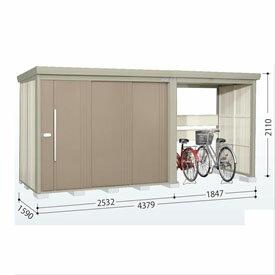 タクボ物置 TP/ストックマンプラスアルファ TP-S43R15 多雪型 標準屋根 『追加金額で工事も可能』 『駐輪スペース付 屋外用 物置 自転車収納 におすすめ』 カーボンブラウン