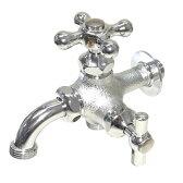 トーシン 蛇口 二口横水栓MIX(メッキ) JA-FBD13-HIM-UN 【水栓柱・立水栓 蛇口】