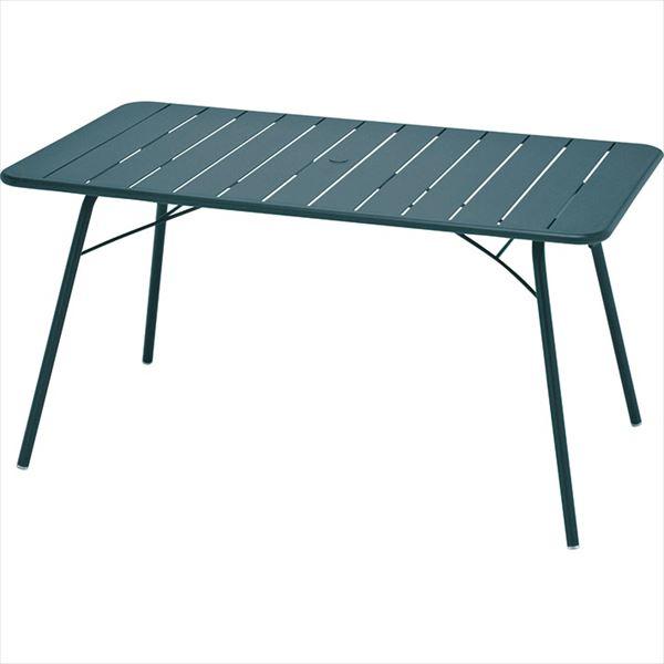 ニチエス FERMOB フェルモブ ルクセンブールテーブル 80×143 *パラソル穴付き 02シダーグリーン