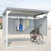 ダイマツ 多目的万能物置 DM-10 壁パネル通常タイプ 土台寸法 間口2347×奥行1615 【自転車屋根 横雨に強いスチールタイプ】