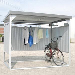 ダイマツ多目的万能物置DM-10壁パネル通常タイプ土台寸法間口2347×奥行1615『自転車屋根横雨に強いスチールタイプ』