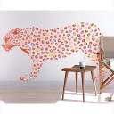 東京ステッカー 高級ウォールステッカー 動物 ヒョウ Mサイズ *TS0019-DM オレンジ 『おしゃれ かわいい』 『壁 シール』