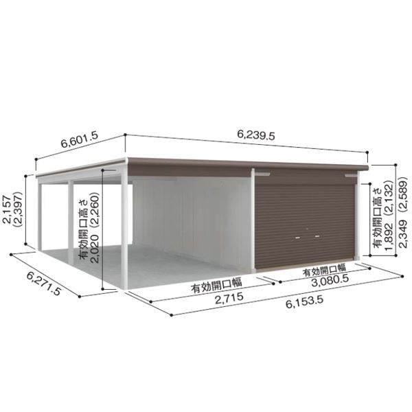 ヨドガレージラヴィージュVGC-3362H+VKC+2862Hオープンスペース連結タイプ『シャッター車庫ガレージ』