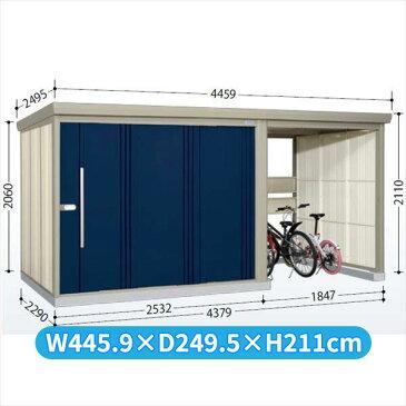 タクボ物置 TP/ストックマンプラスアルファ TP-SZ43R22 多雪型 結露減少屋根  『駐輪スペース付 屋外用 物置 自転車収納 におすすめ』 ディープブルー