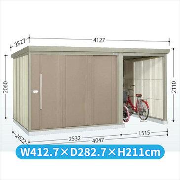 タクボ物置 TP/ストックマンプラスアルファ TP-SZ4026 多雪型 結露減少屋根  『駐輪スペース付 屋外用 物置 自転車収納 におすすめ』 カーボンブラウン