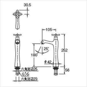 カクダイ水栓金具宇う立水栓(トール)漆塗り716-845-13