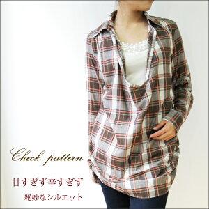 【シャツ】【チュニック】深Uスキッパーチュニック丈シャツ