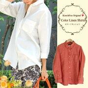 再入荷【リネンシャツ】●日本製きちんとラフな大人仕様の美人リネンシャツ【レディースファッションシャツトップス30代40代プレゼント麻シャツ