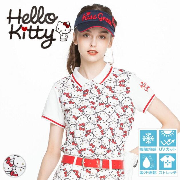 限定キティちゃんコラボ★ぎっしりキティちゃんプリントポロシャツ 【吸水速乾・UV加工・接触冷感】