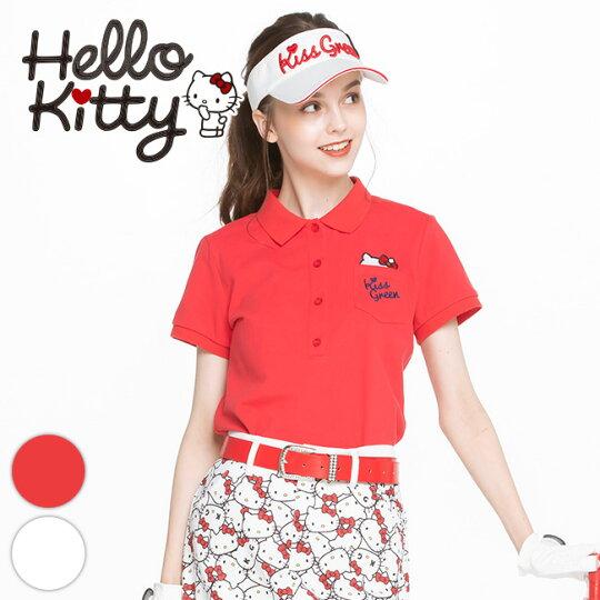 限定キティちゃんコラボ★ポケットからチラ見えキティ刺繍ポロシャツ【着心地抜群 しっかり綿素材】