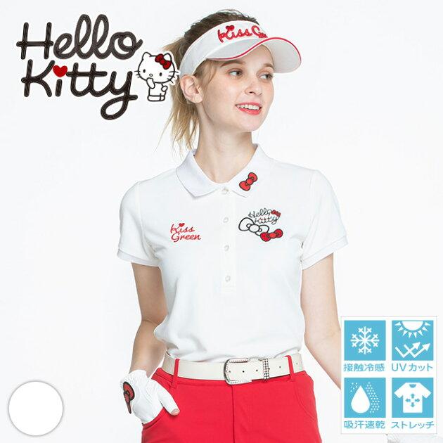 限定キティちゃんコラボ★リボンワッペン刺繍ポロシャツ 【吸水速乾・UV加工・接触冷感】