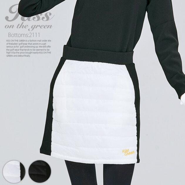 中綿キルティング切り替えスカート