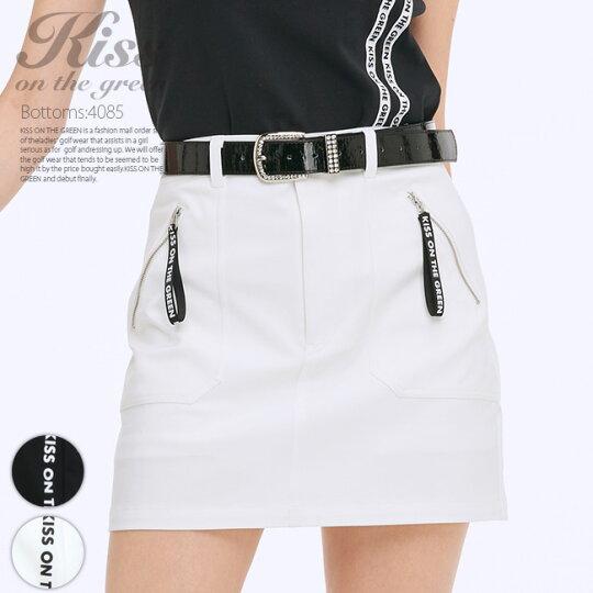 ロゴリボン付きファスナーストレッチスカート