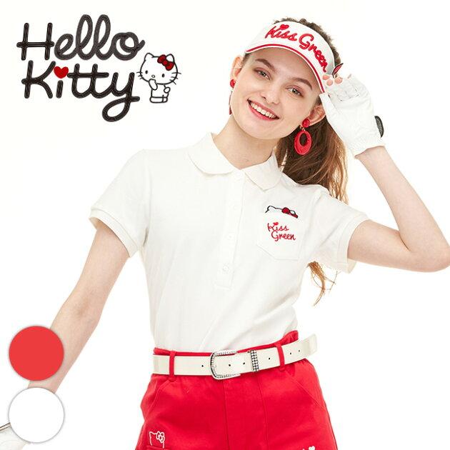 限定キティちゃんコラボ★ポケットからチラ見えキティ刺繍ポロシャツ【着心地抜群 しっかり綿素材】【オフ】