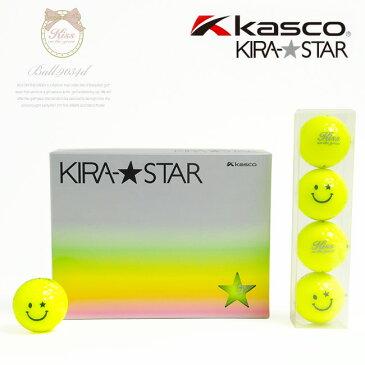 【代引手数料無料】KIRA キスオンザグリーンコラボ オリジナルスタースマイルボール(1ダース) (ゴルフウェア レディース ゴルフウエア)