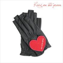 プレゼントに最適♪ハートグローブ【両手・指先開き】【ブラック】