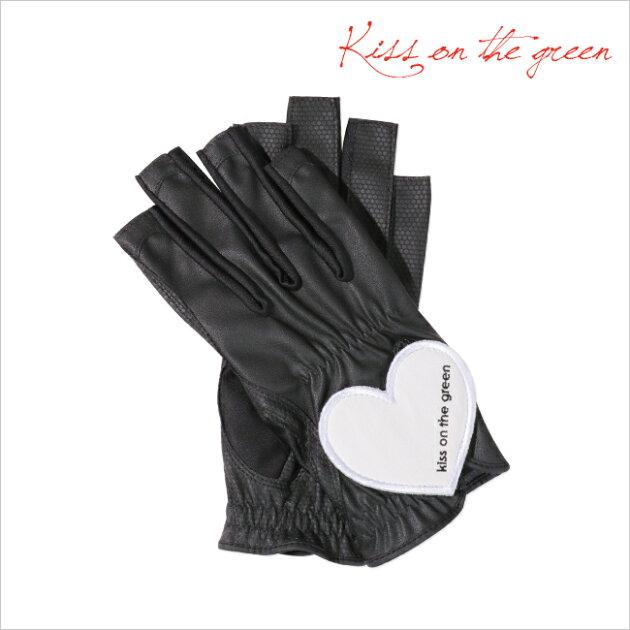 プレゼントに最適♪ハートグローブ【両手・指先開き】【ブラック×オフ】