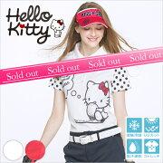限定Hello Kittyコラボ★キティちゃん袖ドットポロシャツ【お手入れ楽々★シワになりにくい】