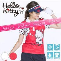 限定Hello Kittyコラボ★キティちゃん袖ドットポロシャツ【お手入れ楽々★シワになりにくい】【レッド】